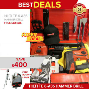 Hilti Te 6 a36 Cordless New Free Rotating Laser Bits Chisels Fast Ship