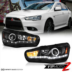 2008 2017 Mitsubishi Lancer Evolution Gsr Mr Black Led Halo Headlights Headlamps