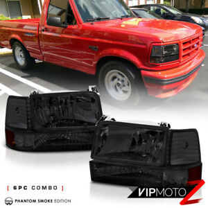 Smoked 1992 1996 Ford F150 F250 F350 Bronco Corner Bumper Signal Headlight Lamps