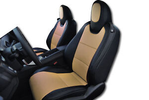 Chevy Camaro 2010 2015 Black Beige Leather Like Custom Fit Front Seat Cover