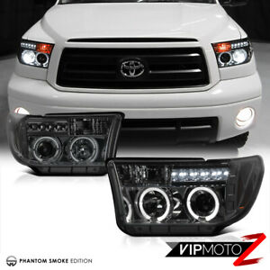 For 07 13 Toyota Tundra Pickup Truck Smoke Halo Led Projector Headlight Headlamp