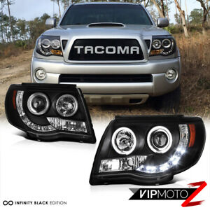 2005 2011 Toyota Tacoma Black Halo Led Projector Headlights Pre Runner X Runner