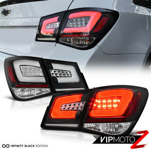 For 10 15 Chevy Cruze oled Neon Tube 4pc Led Rear Tail Lights Lamps Black Set