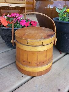 Antique Vintage Wooden Sugar Firkin Box Bucket Primitive With Lid Beautiful