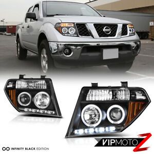 For 05 07 Nissan Pathfinder Frontier Black Halo Ring Led Drl Projector Headlight