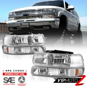 99 02 Chevy Silverado Crystal Clear Headlight Bumper Parking Signal Corner Lamp