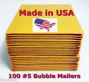 100 5 10 5x16 Bubble Mailers Padded Envelopes Bags Selfseal Dvd 5