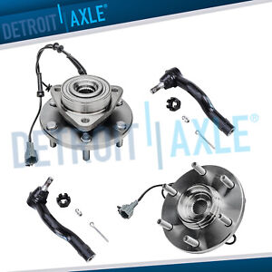 For 2004 2007 Nissan Armada Titan Front Wheel Bearing Hubs W Abs Outer Tie Rod