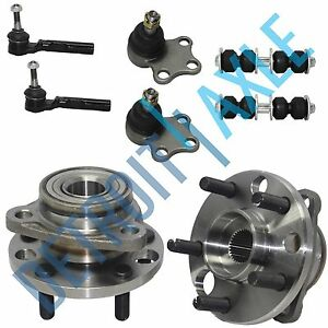8 Pc Kit 2 Front Wheel Hub Bearing 2 Tie Rod 2 Lower Ball Joint 2 Sway Bar