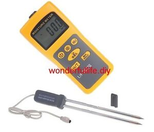 Grain Moisture Meter Content Tester 2 31 Thermometer 14 f 140 f 2in1 36 Kind