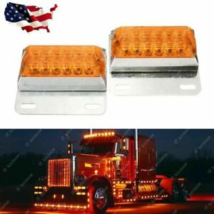 2x Amber 12 Led Side Marker Light 12v 24v Commercial Vehicle Trailer Off Road