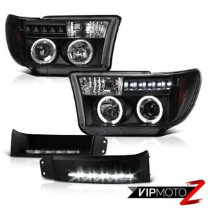 For 08 13 Toyota Sequoia 07 13 Tundra Black Angel Eye Halo Headlight Led Drl Fog