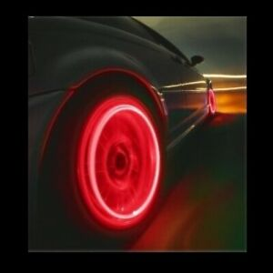 4x Red Led Tire Valve Stem Covers Caps Led Non Flashing Lights Car Motorcycle