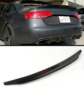 For 2013 2016 Audi A4 High Kick Duckbill Real Carbon Fiber Trunk Spoiler Wing