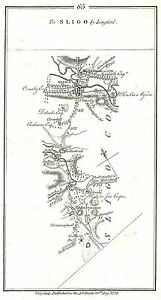 Antique Map Road From Dublin To Sligo By Longford 3