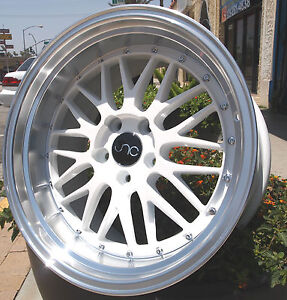 17x9 5 Jnc005 5x114 3 32 Lm Style White Machine Lip 240sx Is300 Supra Mk4 Tsx