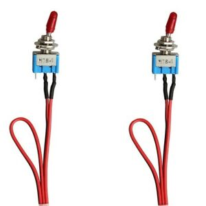 2x Spst Toggle Switch Wires On off Metal Mini Small Automotive boat car truck