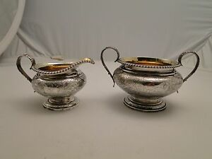 Cream And Sugar Sterling Silver Engraved Fully Marked 1825 London Gadroon Edge