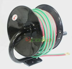 Manual 100ft Twin Oxy Acetylene Welding Hose Reel Mount 300psi 100 Weld Hoses