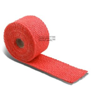 15ft 180 L 2 W Header Intake Turbo Exhaust Insulating Chrome Red Heat Wrap