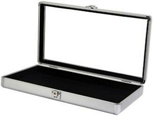Aluminum Glass Top Display Locking Display Case Silver 14 7 8 X 8 3 8 X 2 1 8