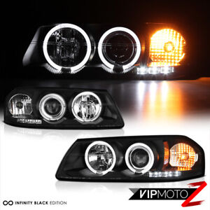 00 05 Chevy Impala Dual Halo Projector Black Headlight Signal Lamps Left Right