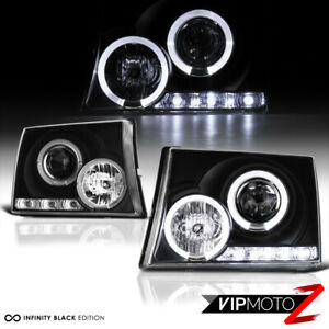 For 97 00 Toyota Tacoma Pickup Truck Black Halo Angel Eye Projector Headlight