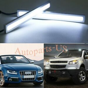 2x Bright White 100 Led Strip Daytime Running Light Drl Car Fog Day Driving Lamp