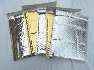 100 Gold And Silver Poly Bubble Mailers 6x9 Padded Mailing Shipping Envelopes
