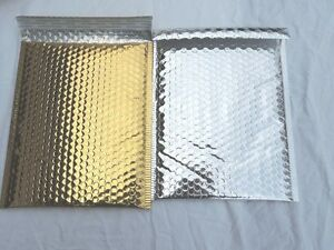 20 Gold And Silver Poly Bubble Mailers 10x15 Padded Mailing Shipping Envelopes