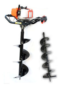 2 3 Hp 52cc One Man Gas Post Hole Digger Earth Driller W 2 Auger Bits 10 And 6