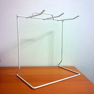 3 Pcs White 3 hook Wire Countertop Rack Keychain Display With Sign Holder