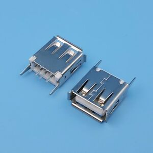 10pcs Usb Type A 4pin Straight Female Socket Pcb Mount Solder Connector