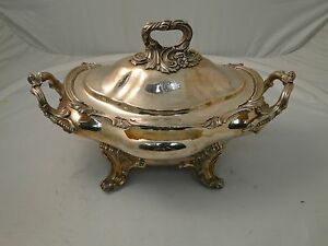 Soup Tureen Georgian 1840 Silver Plated Cast Handles Border Crested Old Sheff