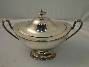 Silver Plated Soup Tureen Victorian 1850 Simple Shape Small Bead Pattern Antique