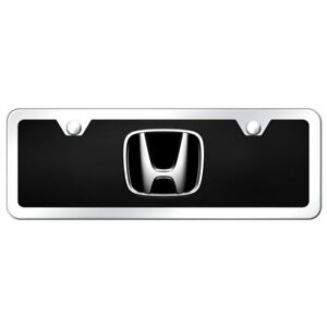 4x12 Honda Logo Acrylic Front License Plate Novelty Black Gloss