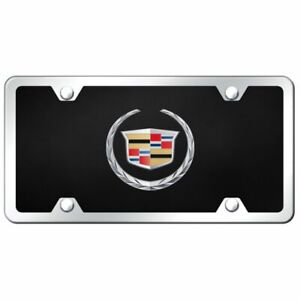 Cadillac Logo Acrylic Front License Plate Novelty Black Gloss Authentic
