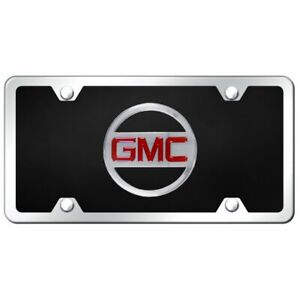 Gmc Logo Acrylic Front License Plate Novelty Black Gloss Authentic