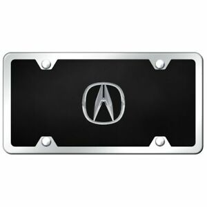 Acura Logo Acrylic Front License Plate Novelty Black Gloss Authentic