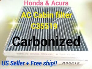 Carbonized C35519 For Honda Acura Cabin Air Filter Accord Civic Crv Odyssey