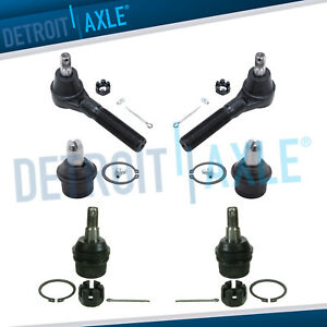 New 6 Pc Kit Pair Of Front Upper And Lower Suspension Ball Joint Tie Rod End