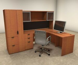 5pc L Shaped Modern Contemporary Executive Office Desk Set of con l26