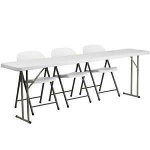 Flash Furniture 18 X 96 Plastic Folding Training Table With 3 White