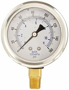 Liquid Filled Pressure Gauge Hydraulic Lower Mnt 1 5 Face 0 160 1 8 Npt