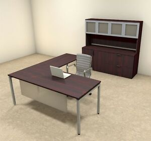 4pc L Shaped Modern Contemporary Executive Office Desk Set of con l73