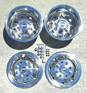 Ford E350 E450 Rv Motorhome 16 92 07 Stainless Dually Wheel Covers Bolt On