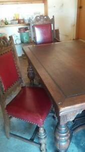 Antique Victorian Wooden 8 Foot Dinning Table Furniture Table Chairs Buffet 1910