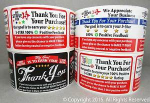 1000 Ebay Etsy Amazon Thank You For Your Purchase Fb Labels Stickers 4 Rolls 250