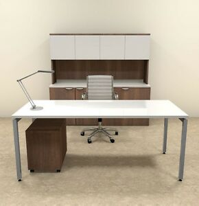 4pc Modern Contemporary Executive Office Desk Set of con d14