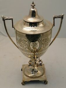Silver Plated Tea Kettle England 1870 Chased Engraved Base Body With Burner